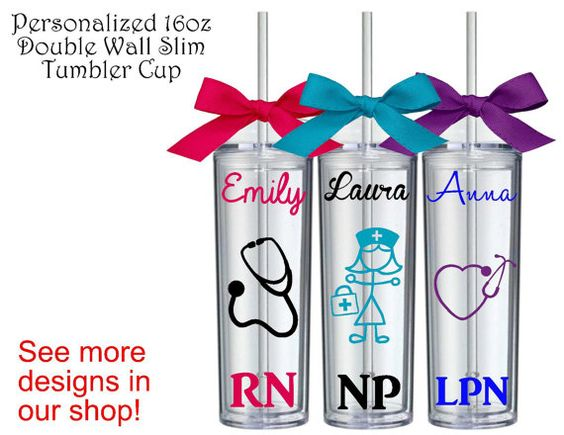 1 Personalized Nurse Slim Tumbler Cup,Custom Tumbler, RN Gift, Personalized RN Gift, Medical Gifts, Nursing, Nurse Student, LPN, cna, Gifts