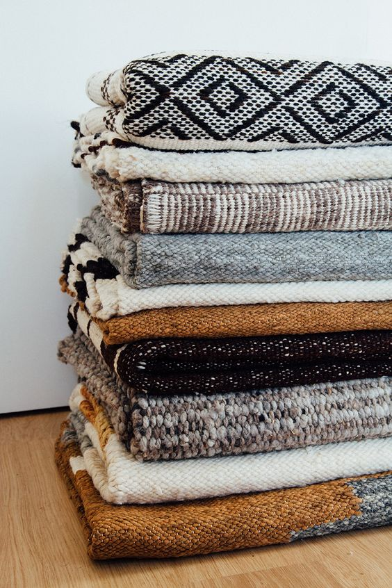 Beautiful stacked Pampa rugs ethical & sustainable, made with love in Argentina.: