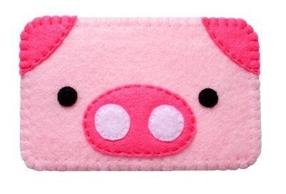 Cute felt piggy cell phone case by cgladue on Etsy, $6.99