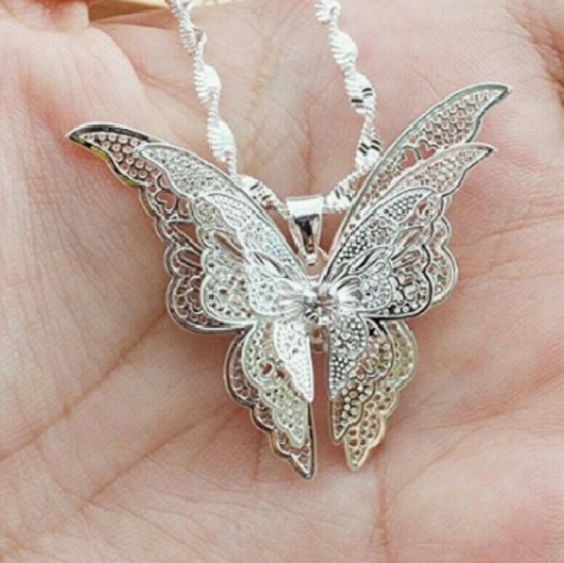 White Gold Butterfly Real 9k white gold plated  Beautiful Butterfly Necklace  Boutique Quality  Brand New   Bundle Discount  Military Discount Available Jewelry Necklaces
