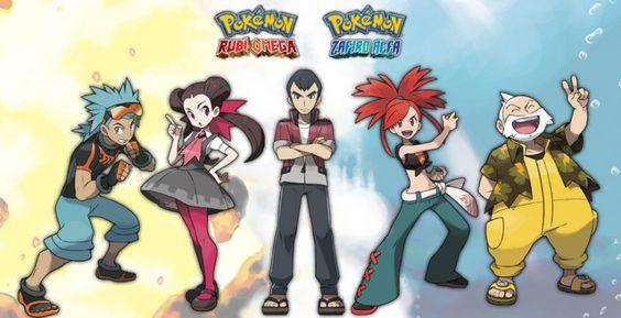 Conoce a Líderes de Gimnasio y miembros del Alto Mando de Pokémon Rubí Omega y Zafiro Alfa