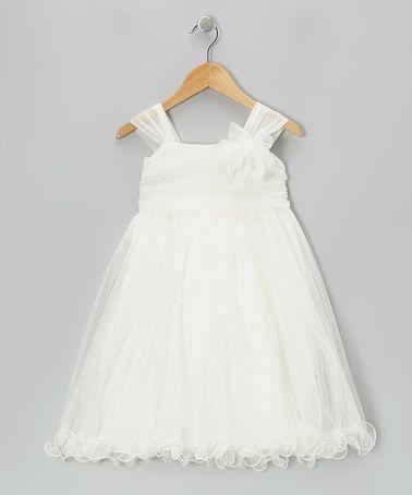Look what I found on #zulily! Ivory Flower Chiffon Babydoll Dress - Toddler & Girls by Kid's Dream #zulilyfinds