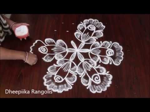 Very Easy Flower Rangoli With 7 4 Dots Kolam Rose Fiower Rangoli Design Chukkala Muggulu Youtube Rangoli Designs Flower Rangoli Rangoli Kolam Designs