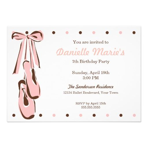 Classic Sweet Pink Ballet Shoe Invitation