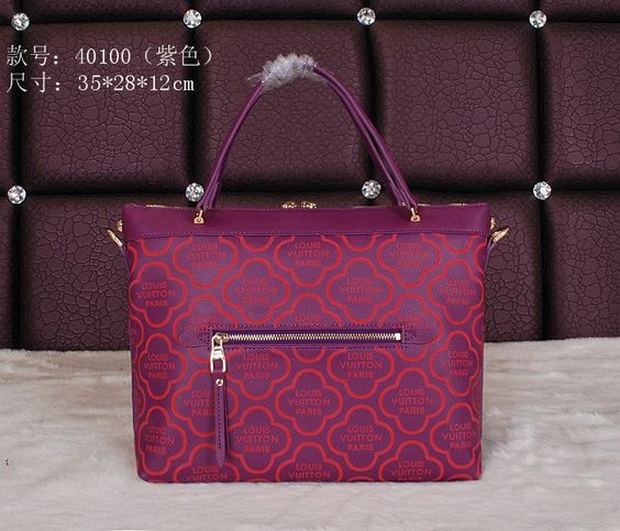 Replica Louis Vuitton LV Purple Full Genuine Leather, Size W35H28D12CM Famous Brand Handbags