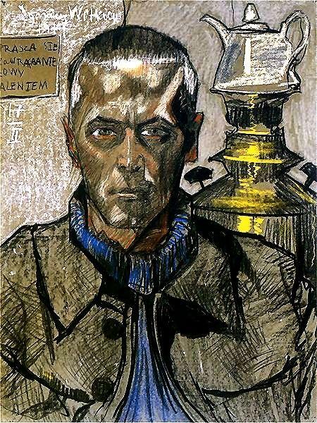 Self portrait with samovar by Stanislaw Witkiewicz