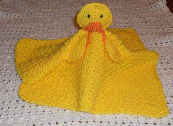 Crocheted Yellow Duck Travel Buddy Blanket