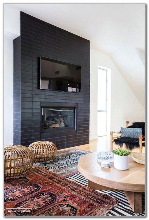 Cool Contemporary Black Tile Fireplaces Ideas Image Black Brick