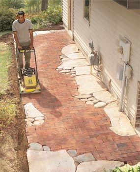 like the combination of bricks and stone.  It softens the rigid pattern of the brick.: Pathways Brick, Build Pathways, Brick And Stone, Stone Pathways, Side Yard, Flagstone Patio, Garden Paths, Stone Patio Ideas, Bricks Stone