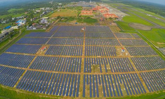 'India's Cochin International Airport is now the first in the world to be powered solely on solar energy. It was announced this week that 46,000 solar panels near the airport's cargo complex would make the airport 'absolutely power neutral.'