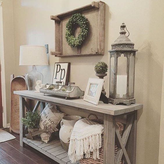 Country interior design ideas for your home entry ways Foyer console decorating ideas