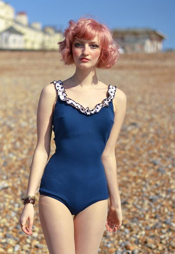 Rare 1950s Mint Cond. Swimsuit with Low Frilled Back   74.00 from ChinaPig's ASOS Marketplace - https://marketplace.asos.com/boutique/chinapig