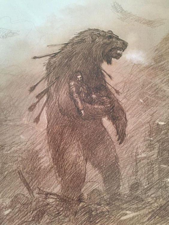 Beorn cargando a Thorin fuera del campo de batalla
