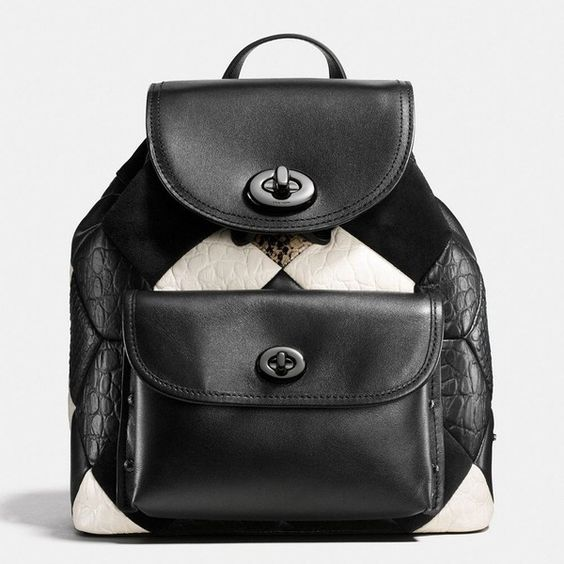 Coach Canyon Quilt Mini Turnlock Rucksack (15.250 RUB) ❤ liked on Polyvore featuring bags, backpacks, mini rucksack, leather bags, genuine leather bags, day pack backpack and coach bags