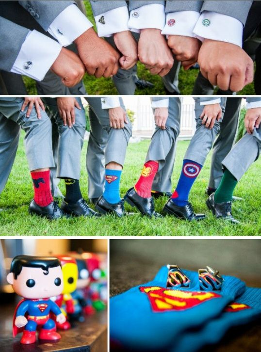 Love these superhero groomsmen!  See all the details from Victor & Jenn's Real Wedding.