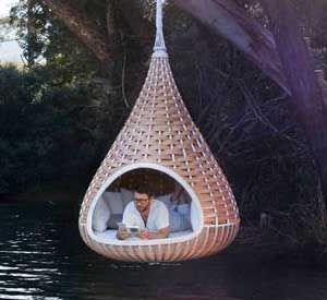 Your hang out spot just got upgraded – this hanging lounger is shaped like an over sized nest for humans, where you can relax, read a book, or even cuddle up with someone special. Each pod is available in a variety of styles so you can create your ultimate hangout spot.