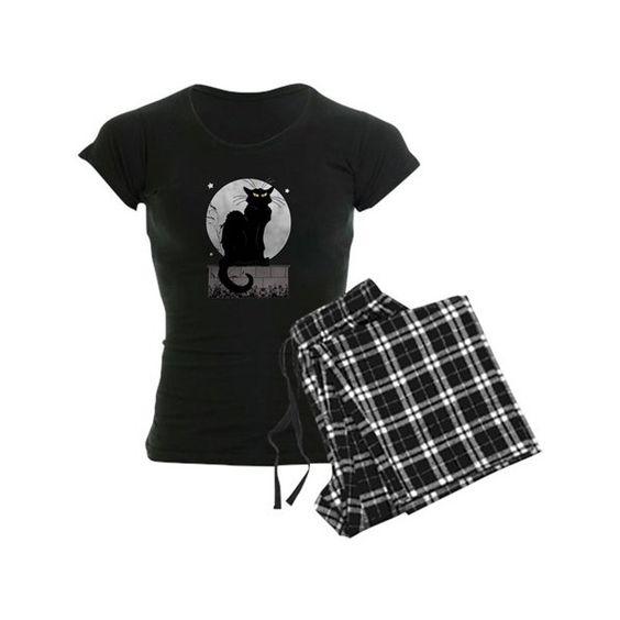 Black Cat Pajamas ($40) ❤ liked on Polyvore featuring intimates, sleepwear and pajamas