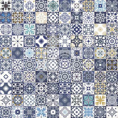Sticker Prachtige bloemen patchwork design. Kleurrijke Marokkaanse of…