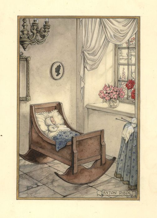 Baby in 19e eeuws interieur gesigneerde aquarel-20-12-1954