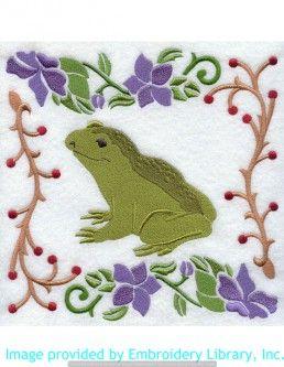 Stickmotiv Stickbild Aufnäher Stickerei Emblem Frosch  Frosch /  Stickerei Woodland Animal Square - Frog (J1867)