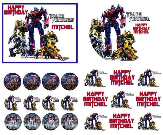 TRANSFORMERS Birthday Cake Frosting Edible Image Toppers, Cupcakes, or Sides by WilsonCakeImaging on Etsy
