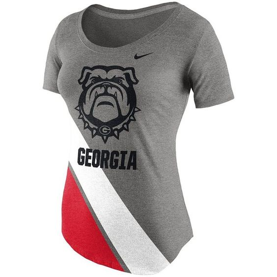 Women's Nike Georgia Bulldogs Gym Vintage Tee ($32) ❤ liked on Polyvore featuring tops, t-shirts, uga gray, striped t shirt, striped tee, gray t shirt, cotton t shirt and scoop neck tee
