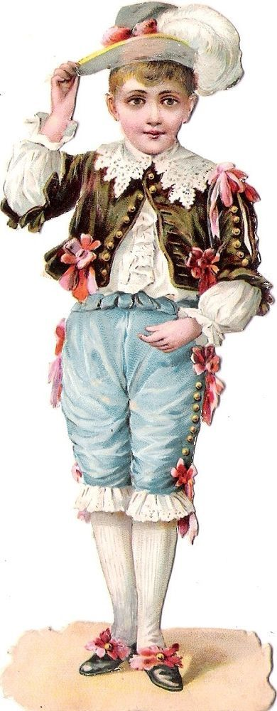 Oblaten Glanzbild scrap die cut chromo Knabe  14,5cm boy Kavalier child Kind: