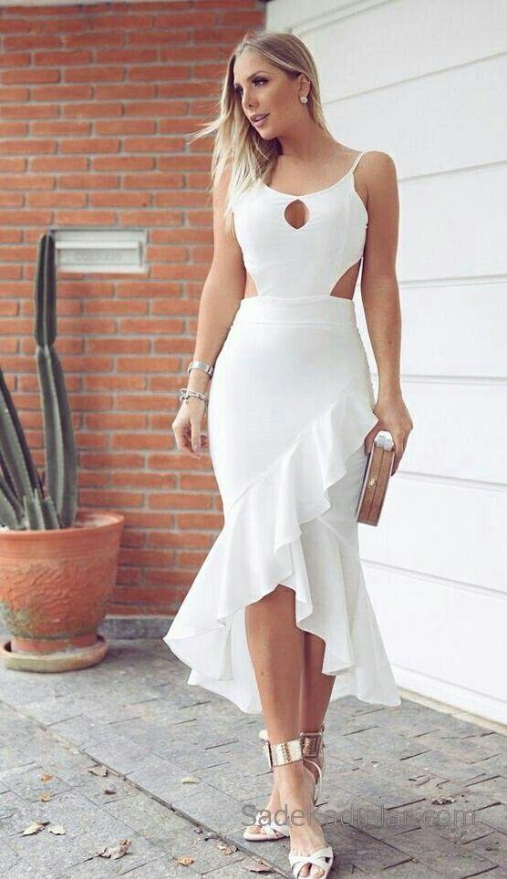 Firfirli Elbise Beyaz Uzun Ip Askili Onden Yirtmacli Elbise Elbiseler Kiyafet