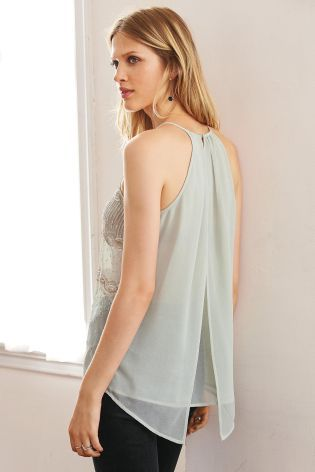 Green Embellished V Back Cami