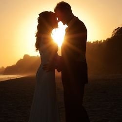 An intimate beach wedding at Summerland beach in Santa Barbara.  We captures this sunset silhouette