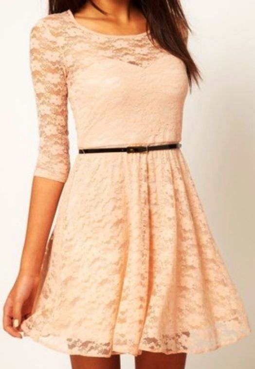 Peach summer dress with a gorgeous netting at the top and 3/4 sleeves and a belt which doesn't over do it, gorgeous