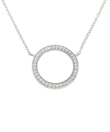 Loving this Sterling Silver & Cubic Zirconia Cutout Circle Pendant Necklace on #zulily! #zulilyfinds