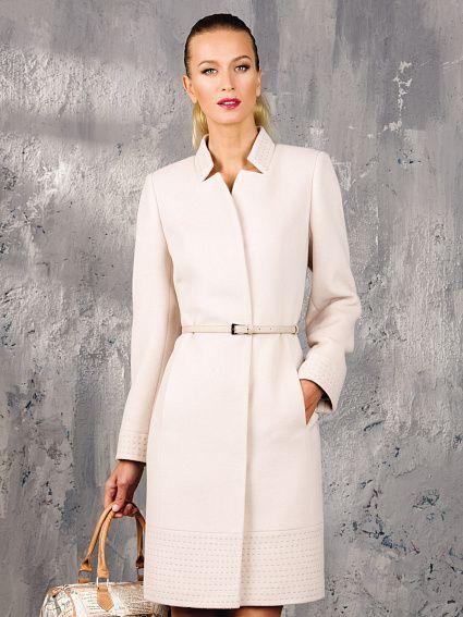 Пальто женское демисезонное цвет молочный, Ворс, артикул 30136903