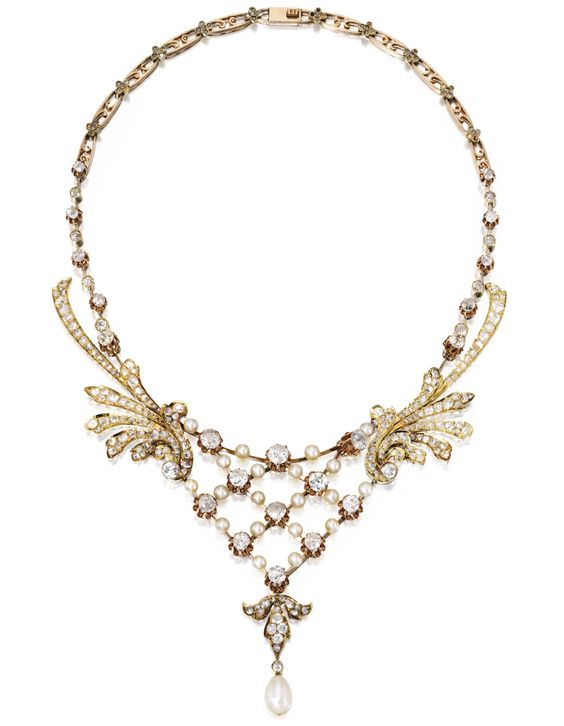Gold, Diamond and Pearl Necklace circa 1900