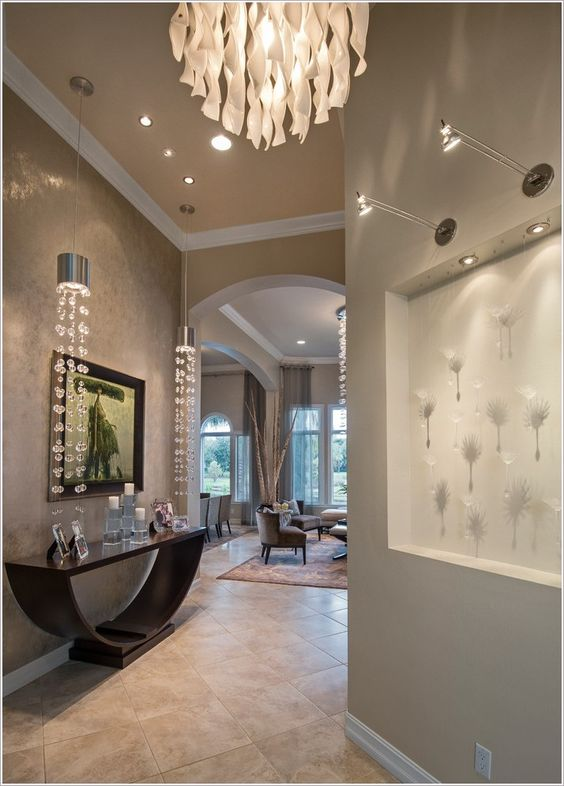 Wall niches pendants and art on pinterest for Drawing hall decoration
