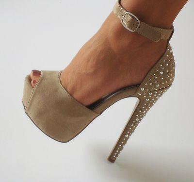 Beige Nude Suede Platform Peep Toe Ankle Strap Stilettos Heels