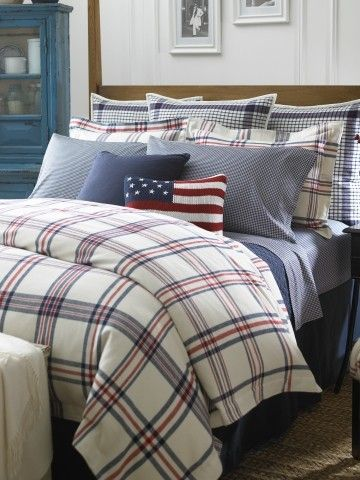 Ralph Lauren ! LOVE LOVE LOVE the Duvet, add different throw pillows, sheets, and bring out the red... yes yes yes... :)