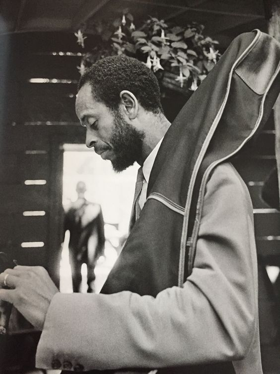 Percy Heath getting ready for an MJQ performance at the Newport Jazz Festival…