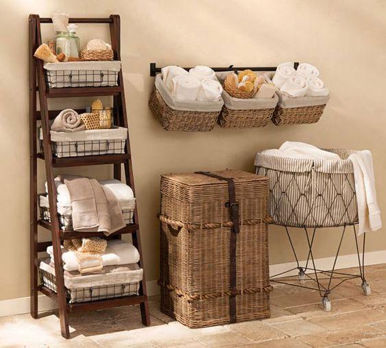 Chic Basket and Ladder Shelves For Maximum Bathroom Storage Space - Best Small Bathroom Storage Ideas: Creative Bathroom Organization and Cute Storage Solutions #bathroom #bathroomstorage #smallbathroom #organization