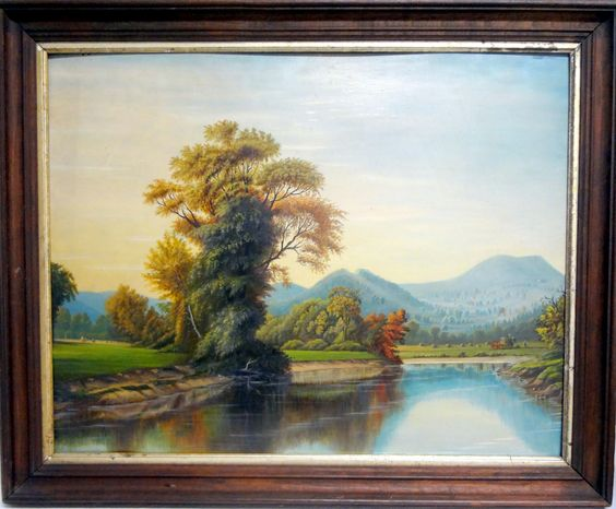 """GRACE WEST BACKUS Ca. 1880s Pontoosic Lake with Mt. Greylock in Lanesboro, MA Oil on artist board. She was a town treasure in Lanesboro, MA, until 1906. Size: 18 ½"""" high x 24 ½"""" wide."""