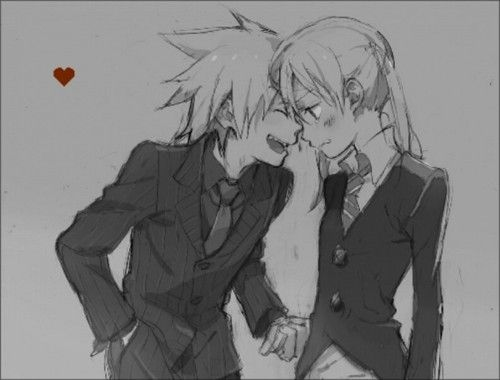 Black and white Maka and Soul  by ~holycrabcakes on DeviantART