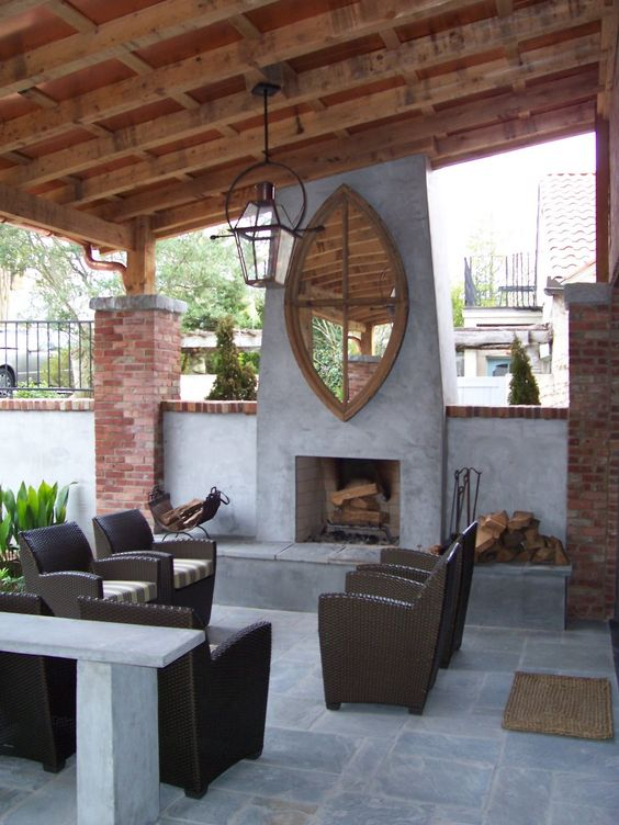 Patio ideas fireplaces and half walls on pinterest for Fireplace half stone
