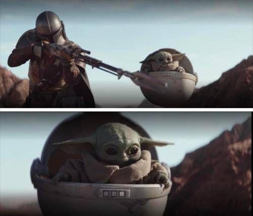 Baby Yoda Watching Mando Shoot Yoda Meme Memes Meme Template