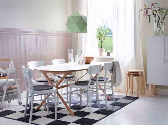 This table combination brings a calm, modern look to the room. Made with solid birch legs and an easy to clean melamine surface, it's a perfect blend of style and durability. Shown here: DALSHULT table-top and SLÄHULT underframe.