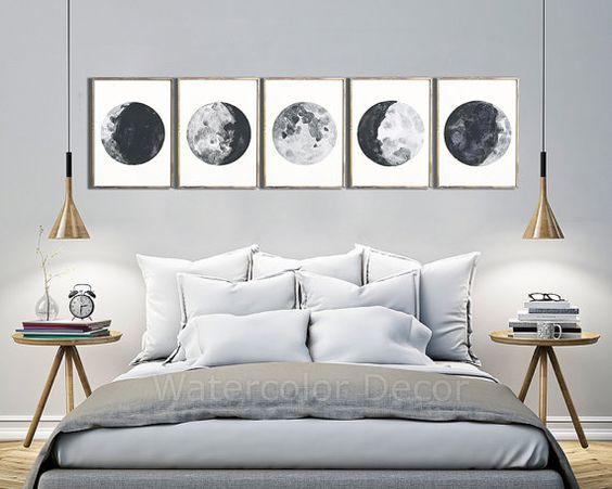 Mondphasen Set 5 Mondphasen-Drucke Poster der von watercolordecor