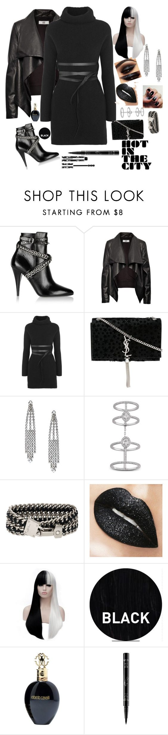 City Chic by marlaj-50 on Polyvore featuring Valentino, HIDE, Yves Saint Laurent, Messika, Henri Bendel, Givenchy, NYX, Roberto Cavalli and Sleep In Rollers