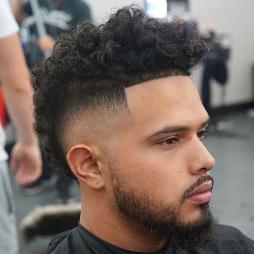 Curly Mohawk High Burst Fade Edge Up Topmenshaircuts Curly Hair Men Cool Hairstyles For Men Haircuts For Men