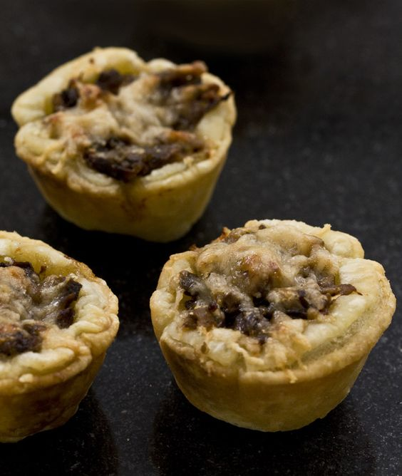 Mushroom Tartlets (add a bit of browned, ground bison, use whole wheat puff pastry)
