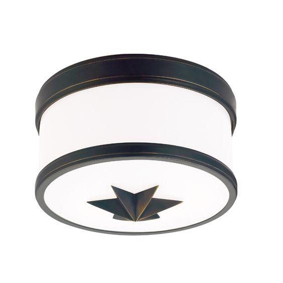 Maverick Drum Shade Flush Light, Star Motif   Barn Light Electric
