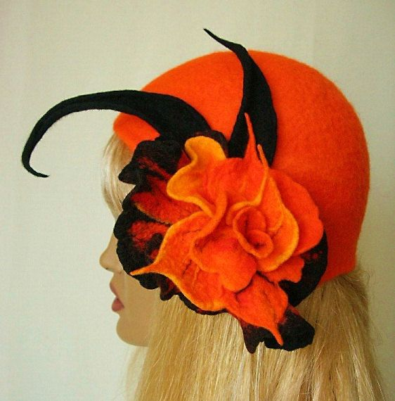 Felted hat orange with brooch,felt hat ,accessories,1920s hat, unique,merino wool. $99.00, via Etsy.
